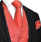 Brand Q Men's 3 Piece Paisley Vest NeckTie & Pocket Square Set for Suit/Tuxedo