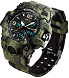 Men's Analog Sports Watch, LED Military Wrist Watch Large Dual Dial Digital Outdoor Watches Electronic Malfunction Two…