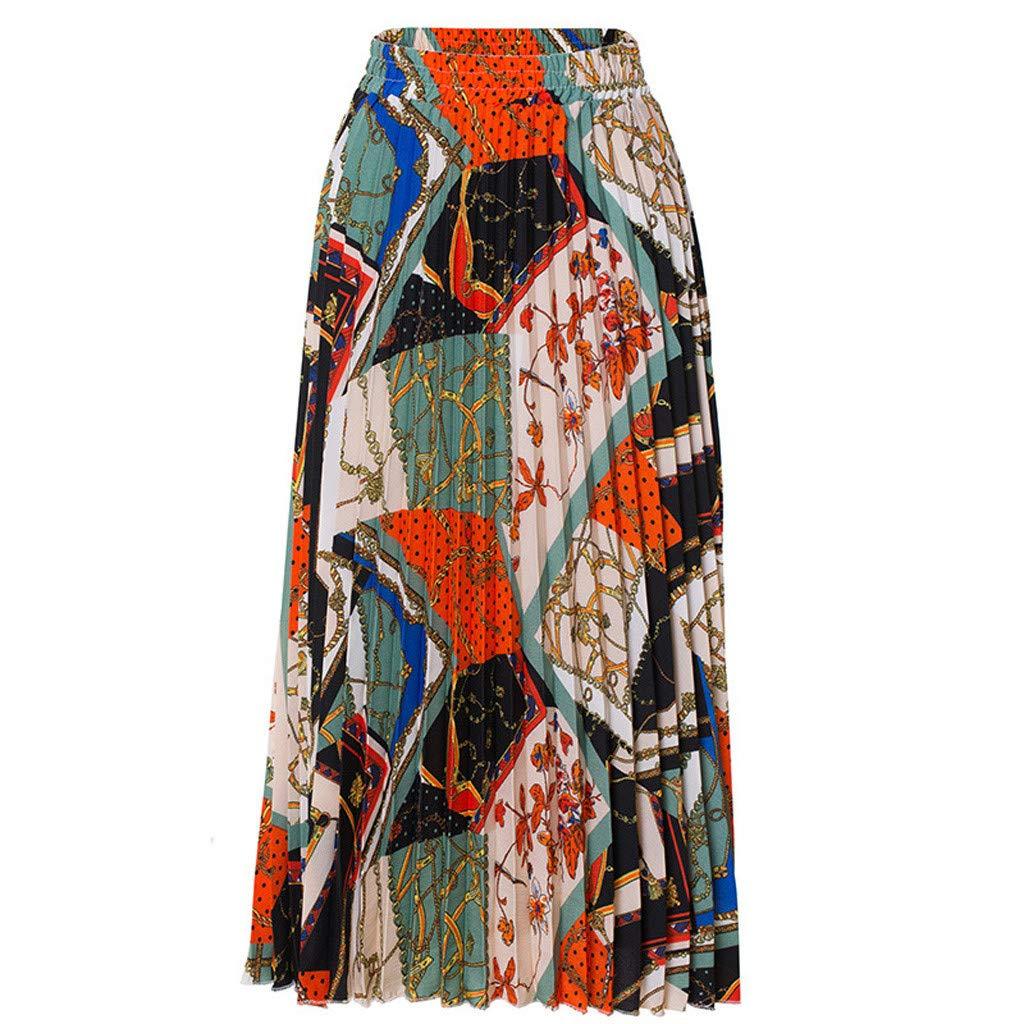 IEasⓄn Women's Bohemian Print Skirt Long Maxi Skirt Fashion Color Block Beach Holiday Dress in Summer