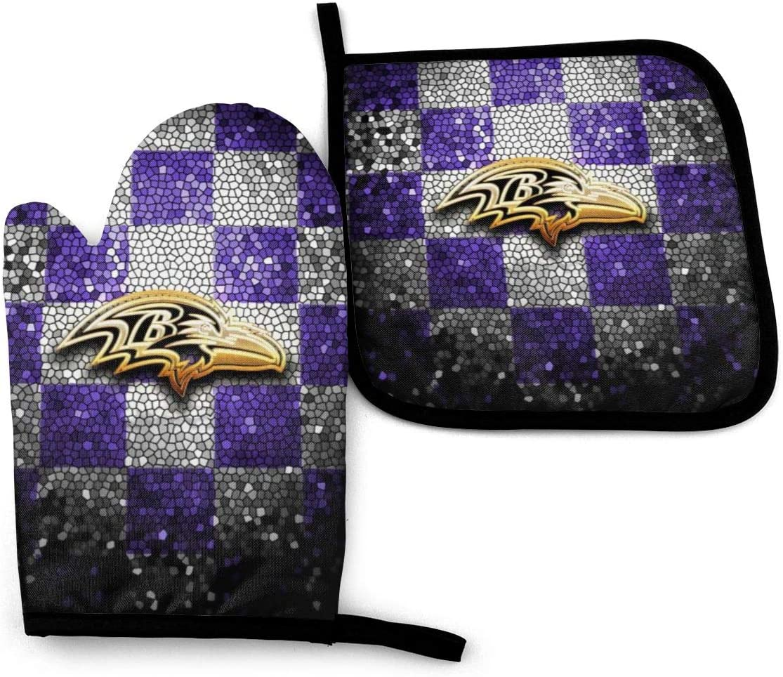 Loreneolden Kitchen Heat-Resistant Baltimore Ravens Oven Mitts and Pot Holder,Oven Gloves for BBQ Cooking Baking, Grilling (Waterproof Polyester)
