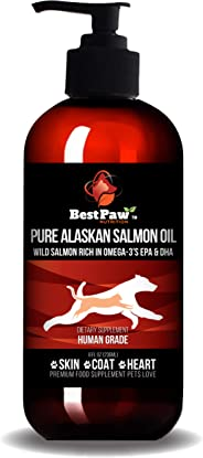 Salmon Oil for Dogs & Cats - Best for Pets Skin and Coat - Pure Wild Alaskan Salmon Oil - Omega 3 Dog Fish Oil Liquid for Coa