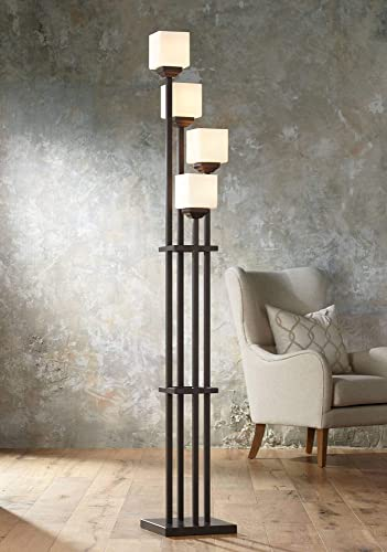 Light Tree Mission Torchiere Floor Lamp 4-Light Bronze Iron Square-Sided White Glass Shade