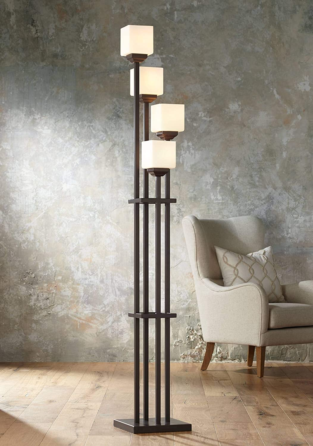 Light Tree Mission Torchiere Floor Lamp 4 Light Bronze Iron Square Sided White Glass Shades For