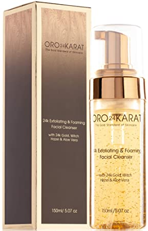 ORO24KARAT Exfoliating Foaming Facial Cleanser with 24k Gold, Witch Hazel, and Aloe Vera