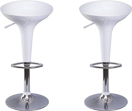 Bold Tones Modern Height Adjustable Swivel Kitchen Bar Stools, Set of 2 White
