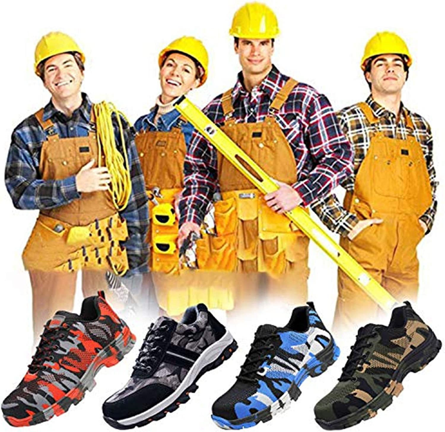 JACKSHIBO Steel Toe Work Shoes for Men Women Safety Shoes Breathable Industrial Construction Shoes