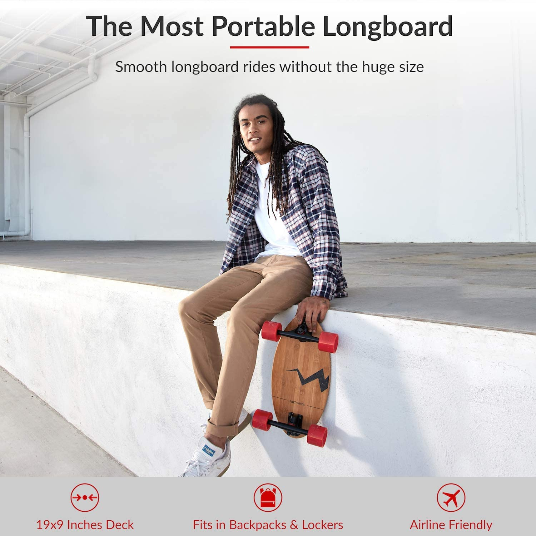 Eggboards Mini Longboard Cruiser Skateboard – The Original. Wide Small Bamboo Skateboards Ride Like Longboards. Complete Longboard for Adults and Kids