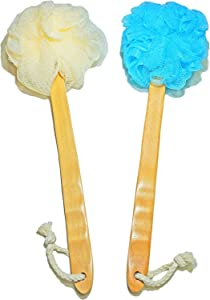 2-Pack Shower Loofah Body & Back Scrubber - Exfoliating Loofah luffa loofa Bath Brush On a Stick - With Long Wooden Handle Back Brush For Men & Women - Easy Reach Body Wash & Lotion Applicator