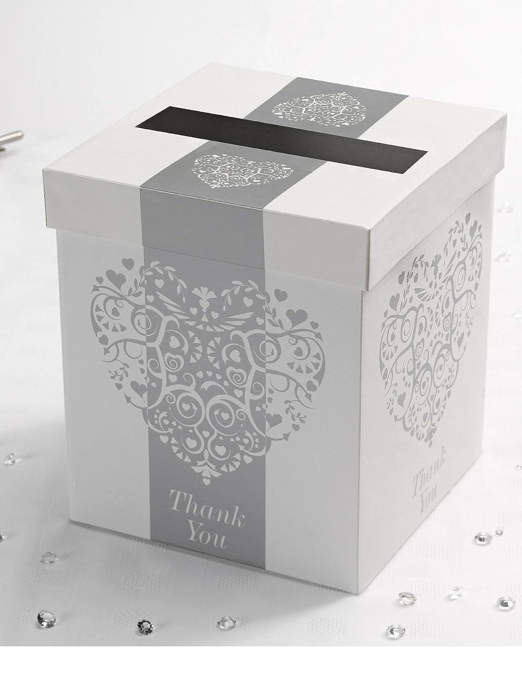 Vintage Romance Wedding Card Post Box [Colour - silver]