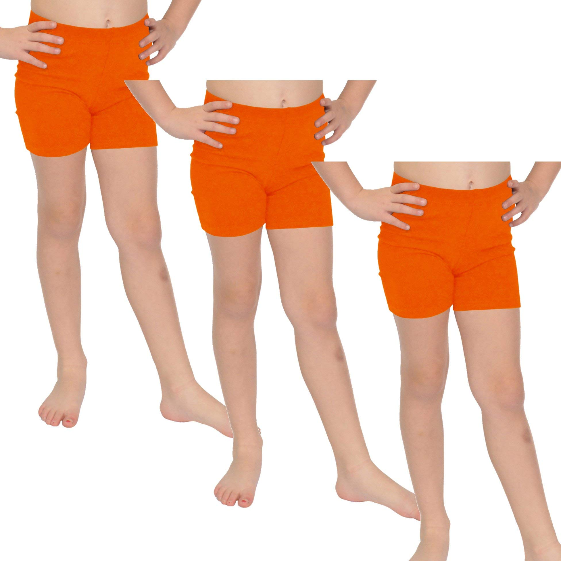 Stretch is Comfort Girl's Cotton Biker Shorts Set of 3 Pieces Orange Large by Stretch is Comfort