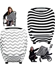 WATINC 2p Nursing Breastfeeding Cover Scarf, Baby Car Seat Cover,Shopping Cart, Stroller, Carseat Covers for Girls and Boys, Use Best Multi Use Infinity Stretchy Shawl