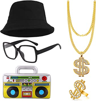 SPECOOL Kit de Disfraces de Hip Hop 90s 80s Rapero Accesorios ...