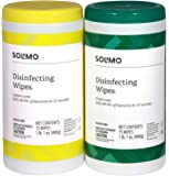 Amazon Brand - Solimo Disinfecting Wipes, Lemon Scent & Fresh Scent, Sanitizes/Cleans/Disinfects/Deodorizes, 75 Wipes…
