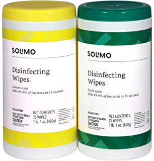 Amazon Brand - Solimo Disinfecting Wipes, Lemon Scent & Fresh Scent, 75 Wipes Each