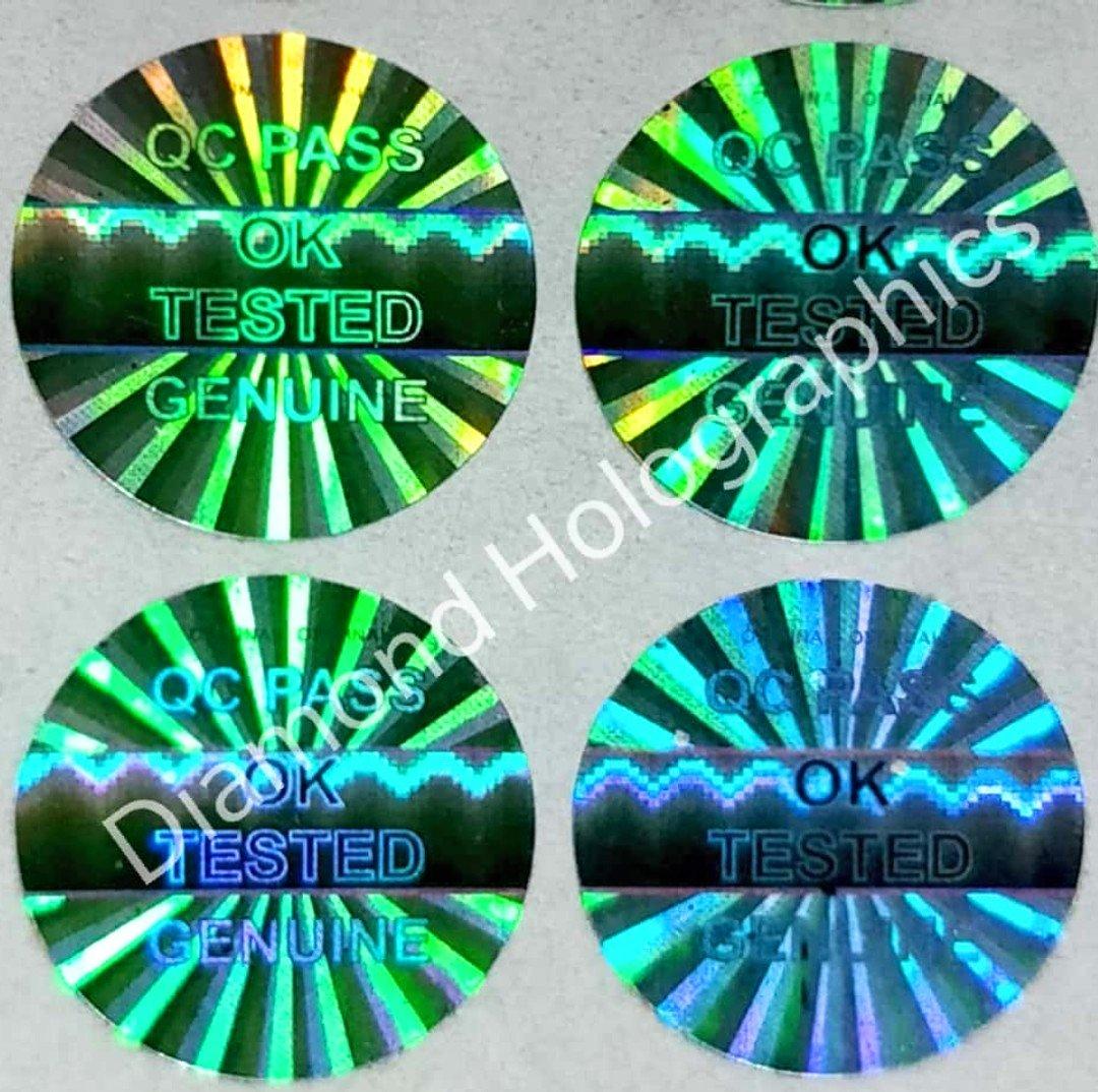 Diamond hologram stickers ok tested q c pass5000 pcs 14mm round