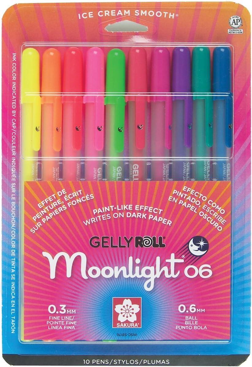 Gelly Roll Moonlight Pen Set, 0.6 mm Fine Tip, Set of 10