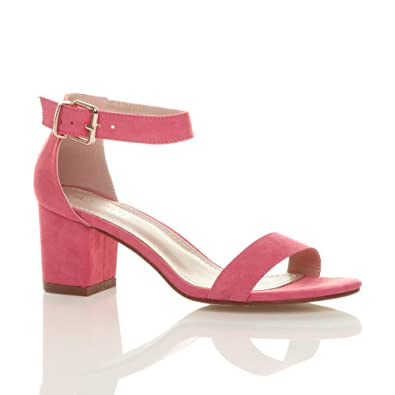 Womens ladies low mid block heel peep toe buckle ankle strap party strappy sandals shoes