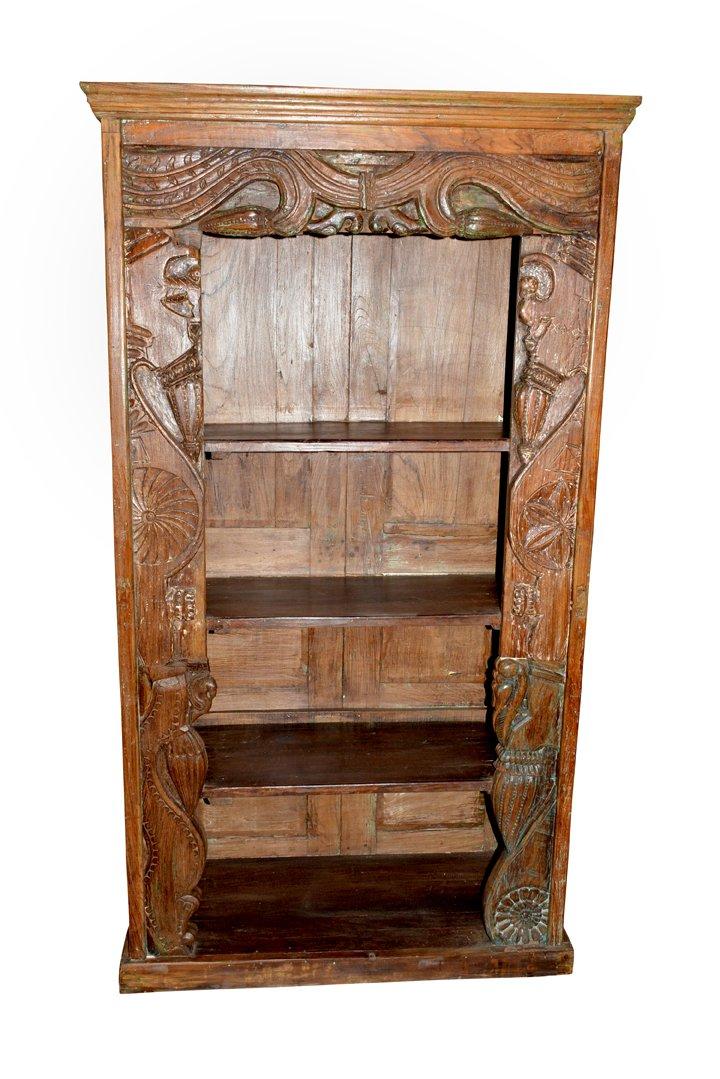 Mogulinterior Antique Bookcase Hand Carved Chakra Borders Wooden Bookshelf