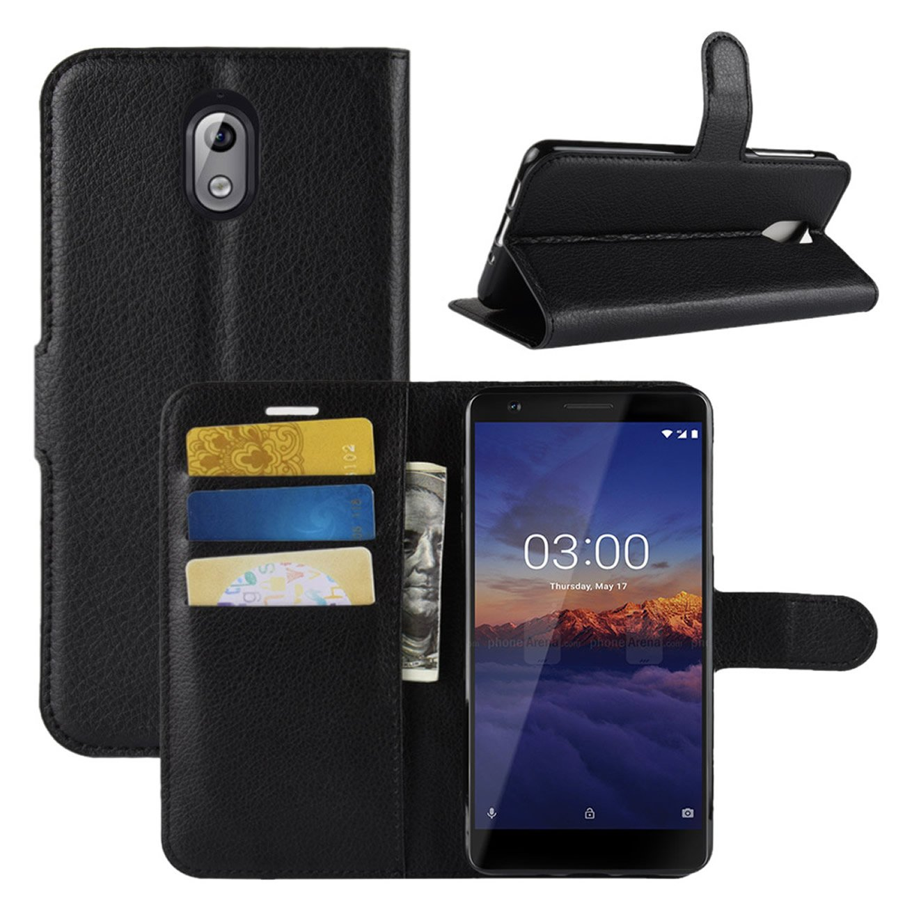 ac1de7acf2 Nokia 3.1 Case, Fettion Premium PU Leather Wallet Flip Phone Protective  Case Cover with Card Slots and Magnetic Closure for Nokia 3.1 Smartphone  (Black)