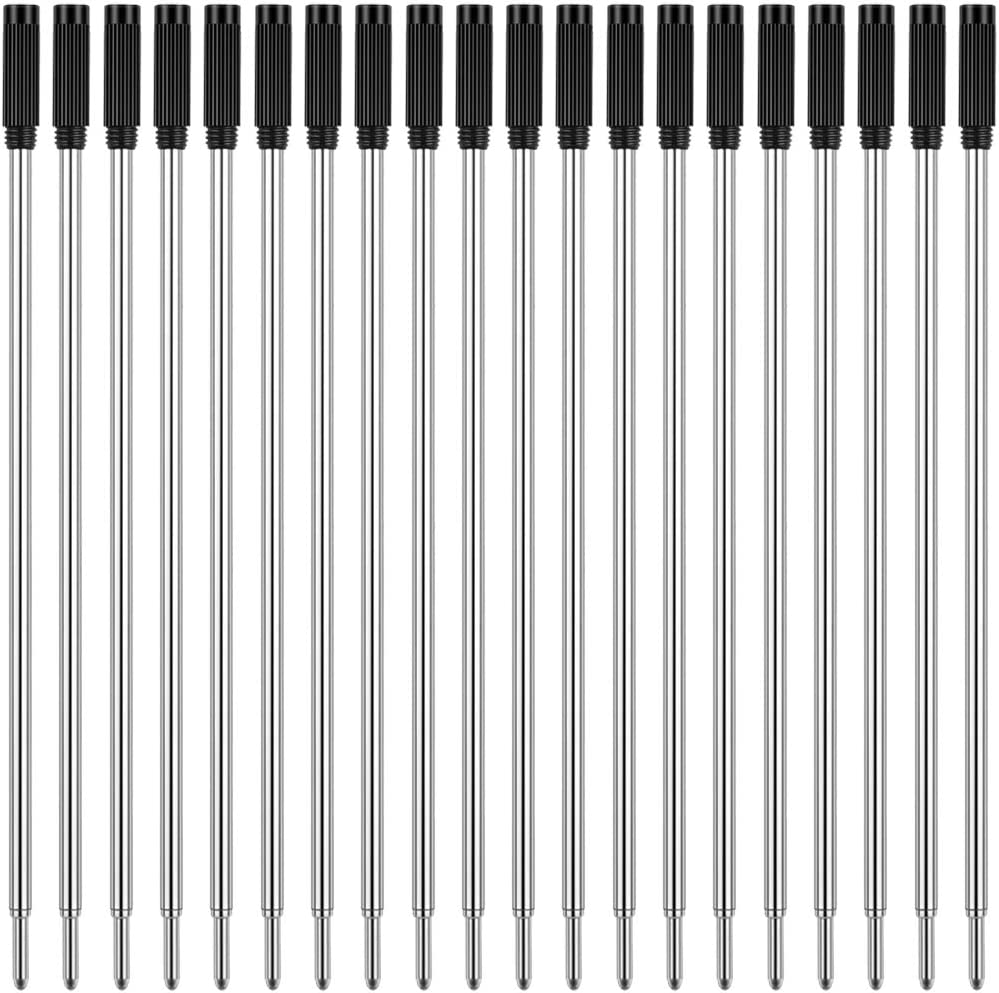 1.0mm Medium Point-Black Unibene Cross Compatible Ballpoint Pen Refills 20 Pack Smooth Writing Replaceable German Ink Refill