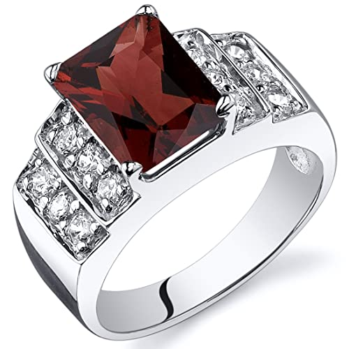 Garnet Step Ring Sterling Silver Rhodium Nickel Finish 2.75 Carats Sizes 5 to 9
