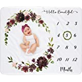 Baby Monthly Milestone Blanket Girl, Personalized Newborn Month Blanket Girls, Potography Background Prop, Growth Chart Blank