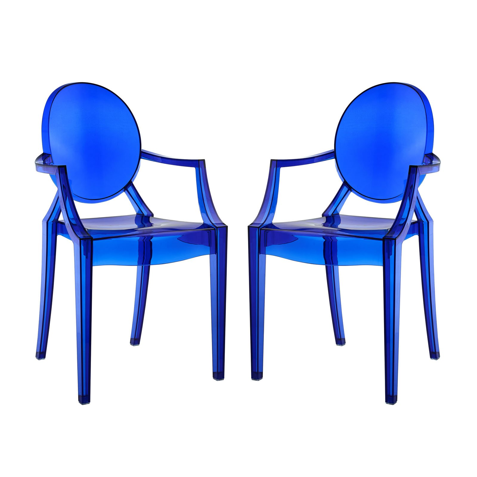 Modway Casper Modern Acrylic Dining Armchairs in Blue - Set of 2 by Modway