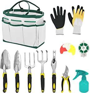 HORTICAN Gardening Tool Set 22 Piece Gardening Kit with Wooden Handle, Include Gardening Bag, Hand Rake Fork Trowel Gardening Accessories,Gardening Gifts Tools for Women