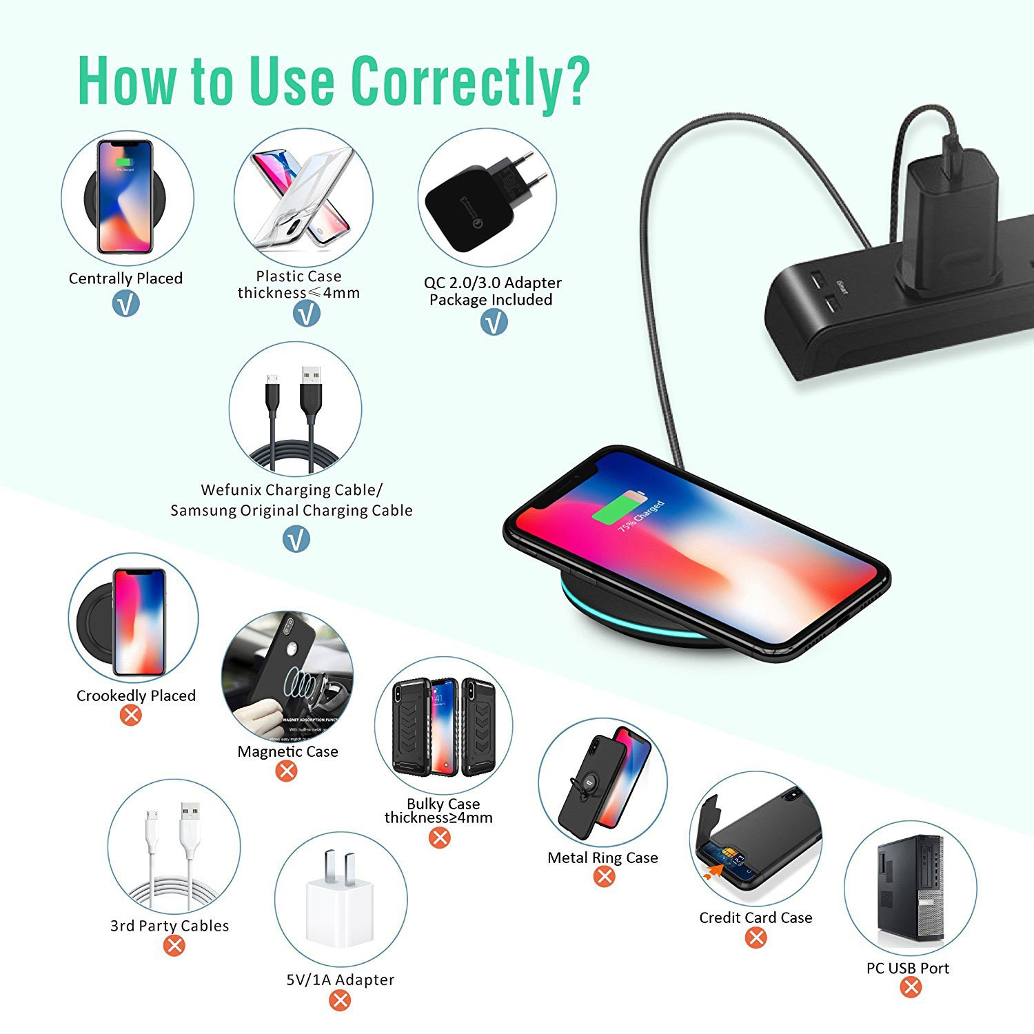 Base de Carga Inal/ámbrica 10W para Samsung Galaxy S10 S9 S8 Note 9//8-MC30 Wefunix Cargador Inal/ámbrico R/ápido Qi Quick Charge 3.0 Wireless Charger USB C 7.5W para iPhone XS MAX XR X 8 8 Plus Mix 2S