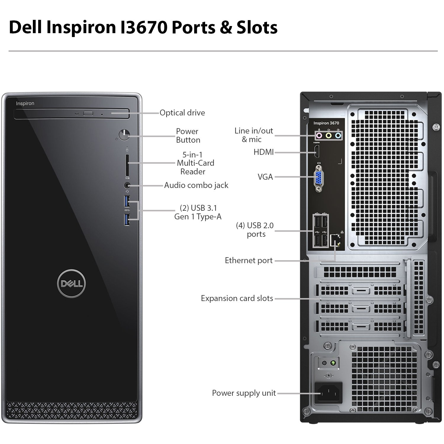 Dell Inspiron i3670 Desktop - 8th Gen Intel Core i7-8700 6-Core up to 4 60  GHz, 16GB DDR4 Memory, 2TB SATA Hard Drive, 2GB Nvidia GeForce GT 1030, DVD