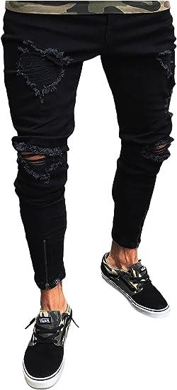 Letuwj Hombres Negro Slim Fit Jeans Con Rotos Amazon Com Mx Ropa Zapatos Y Accesorios