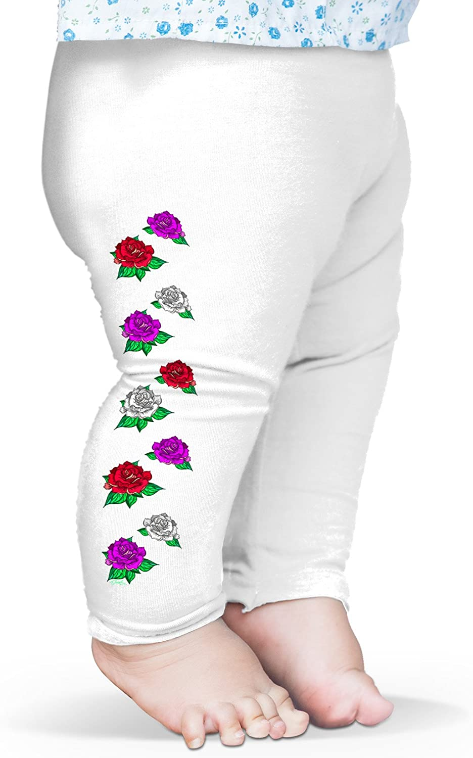 Twisted Envy Baby Coloured Roses Pattern Leggings Trousers 12-18 Months White