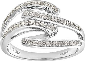 Naava Women's 9 ct White Gold 0.10 ct Diamond Fancy Earrings 60ZR8E8i8J
