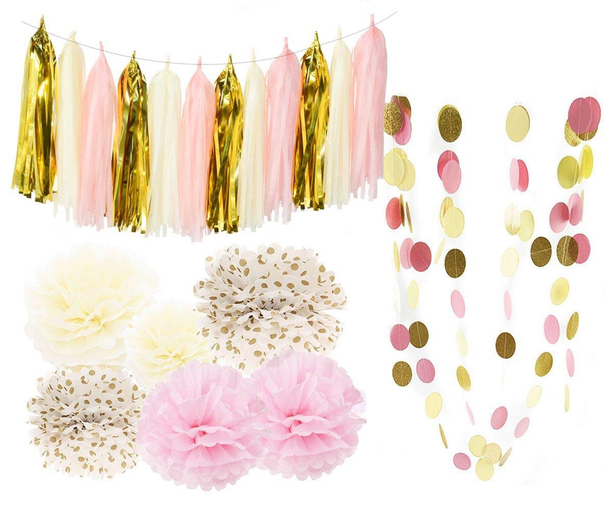 Bridal Shower Decorations Tissue Pom Pom Pink Cream Glitter Gold Tissue Paper Pom Pom Paper Tassel Garland Polka Dot Tissue Poms for Girl Baby Shower Decorations Pink Gold Party Decor First Birthday Qian/'s Party SYNCHKG095590