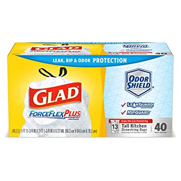 Glad ForceFlexPlus - Bolsas de basura altas con cordón para ...