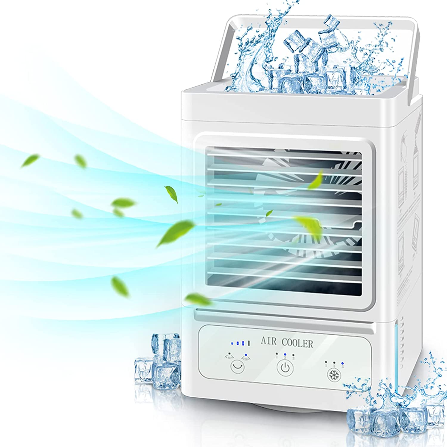 Personal Air Cooler,Rechargeable Battery Operated 60°&120° Auto Oscillation,Portable Air Conditioner Fan with 3 Wind Speeds & 3 Refrigeration,Ultra Quite Ice Cooler Fan for Home Bedroom Office Outdoor
