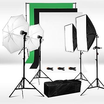 BPS 500W Kit Softbox Paragua Fotografía iluminación de Estudio Fotográfico - 2 softbox 50x70cm + 2