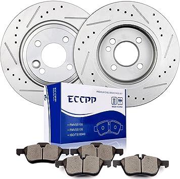 Fit 2006 Mini Cooper Front Rear Sport Black Drill Slot Brake Rotors+Ceramic Pads