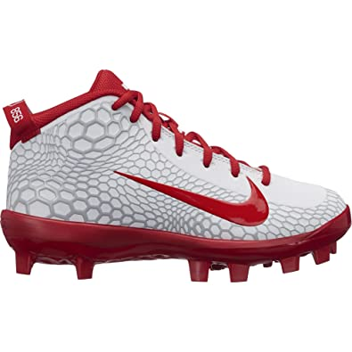 e7b03100f24 Nike Kids Force Trout 5 Pro MCS Baseball Cleat White University Red Size 1 M