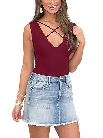 980da31e6a0e3 Women's Summer V Neck Front Criss Cross Lace up Sleeveless Basic Tank Tops  Shirts Burgundy Small