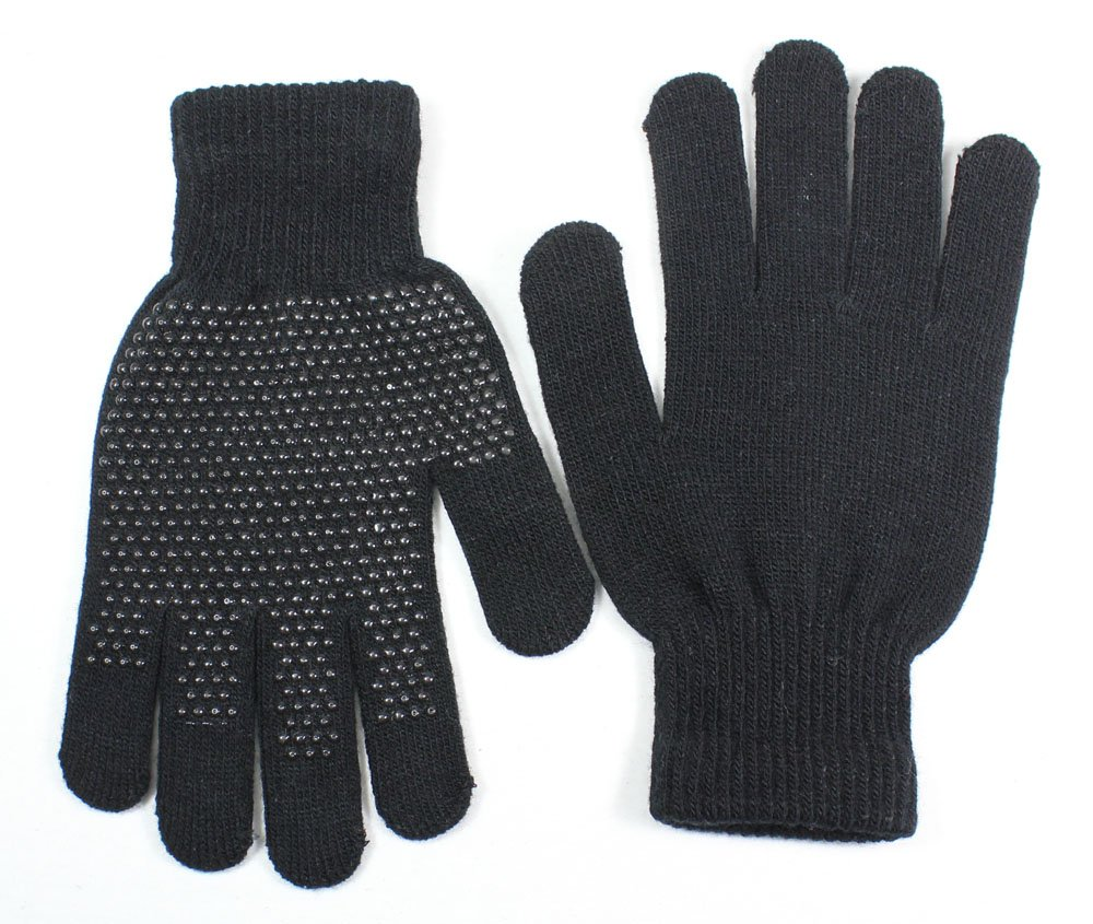 LL- Mens Black Fall Winter Anti Slip Resistant Outdoor Magic Stretch Knit Gloves