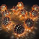 Volador Battery Operated String Lights 5.6ft 10 LED Copper Moroccan Orb Fairy Lights Festival Ambiance Lighting, Christmas, Wedding, Party, Bedroom Décor Lights