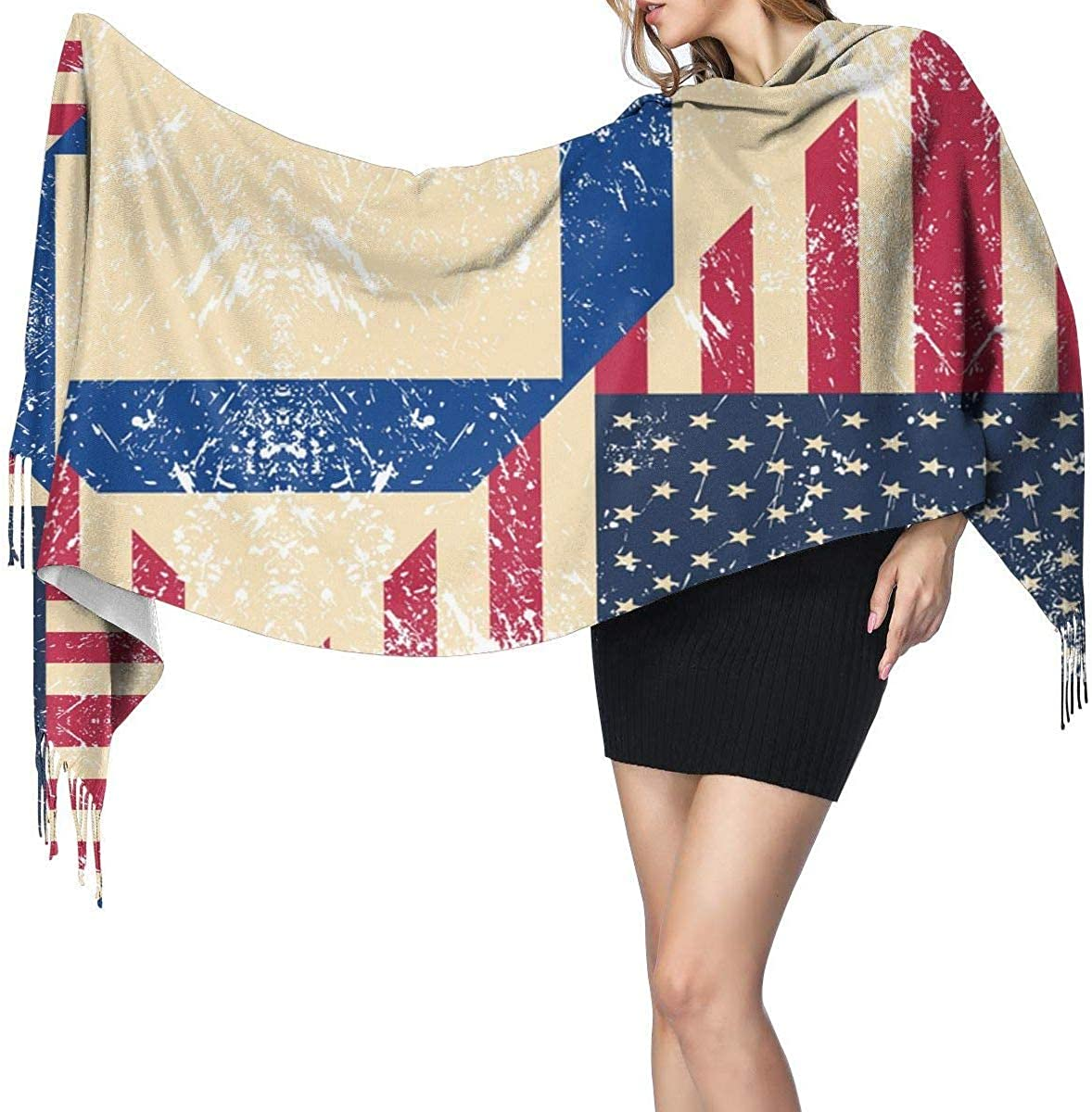 American and Finland Retro Flag Cashmere Scarf Shawl Wraps Super Soft Warm Tassel Scarves For Women Office Worker Travel