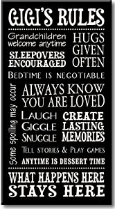 My Word! Gigi's Rules - 8.5 x 16 Decorative Sign, Black with Cream Lettering