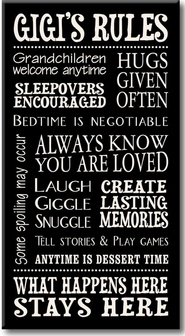 My Word! Gigi's Rules - 8.5 x 16 Decorative Sign Black with Cream Lettering