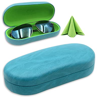 a14424db97e Hard Eyeglass   Sunglasses Case with Microfiber Cleaning Cloth ...