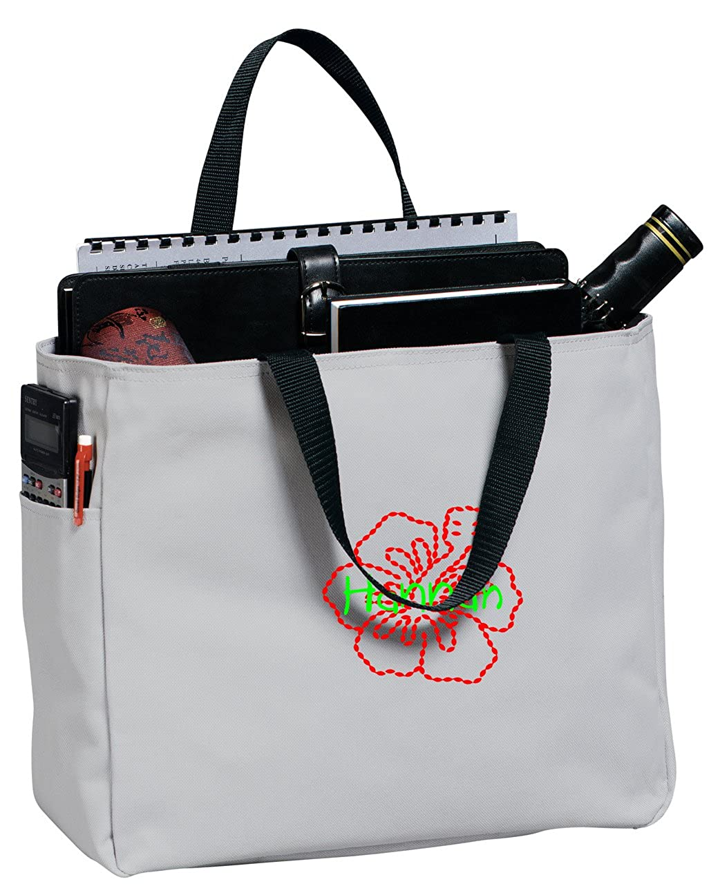 Personalized Embroidered Hibiscus Flower Sport Essential Tote Bag