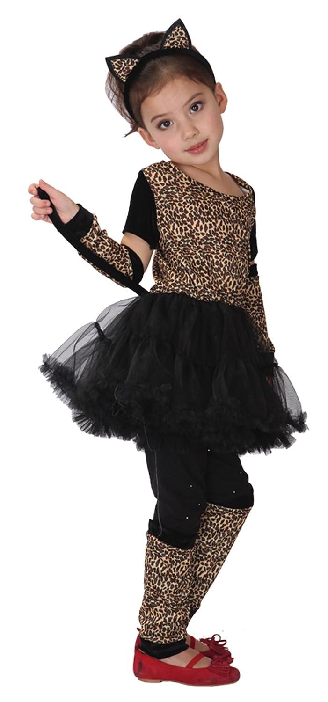 D/éguisement Chat Fille Costume L/éopard Animal Cosplay Robe de D/éguisement Fille Enfant Halloween Carnaval Toussaint Soir/ée 4-6 ans