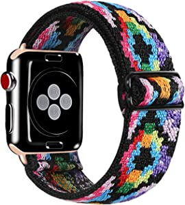 Kraftychix Adjustable Elastic Watch Band Compatible with Apple Watch 38mm/40mm,Soft Stretch Bracelet Women Strap Replacement Wristband for Iwatch Series SE/6/5/4/3/2/1(Aztec Colorful,38/40MM)