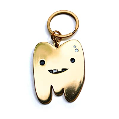 "I Heart Guts Gold Tooth Keychain - Can You Handle The Tooth - 2"" Metallic Faux Gold: Toys & Games"
